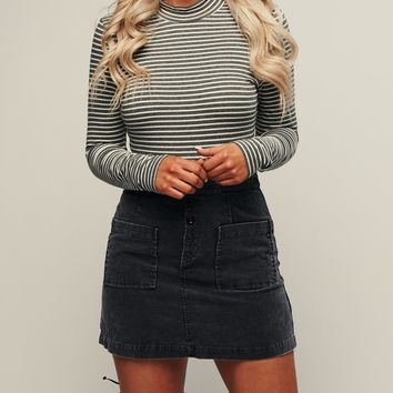 Sweet Love Five Button Corduroy Skirt (Navy)