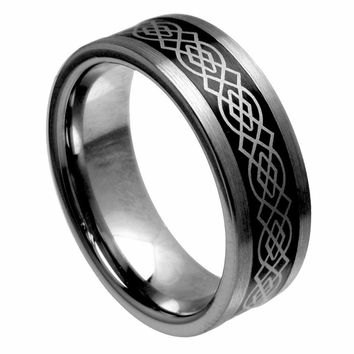 Tungsten Carbide Pipe Cut Wicca Celtic Pattern Laser Engraved Ring 8MM