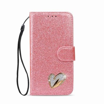 Luxury Phone Case For Samsung Galaxy S8 S9 Plus S7 Edge S7 Leather Case Multi Card Slot Stand Quicksand Cover For Galaxy Case S8