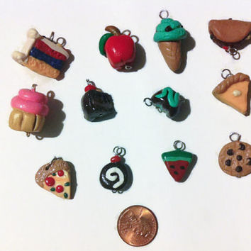 Assorted Food Charms - 12 Pieces, dessert charms, food charms, polymer clay charms, food jewelry, miniature food, kawaii, jewelry making,