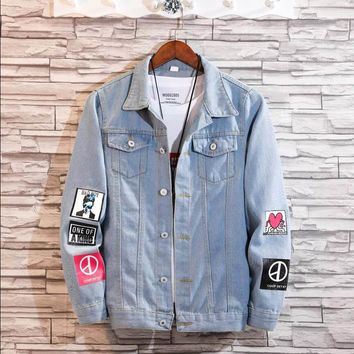 Women Frayed Denim Bomber Jacket Appliques Print Where Is My Mind Lady Vintage Elegant Outwear Autumn Fashion Coat  2018