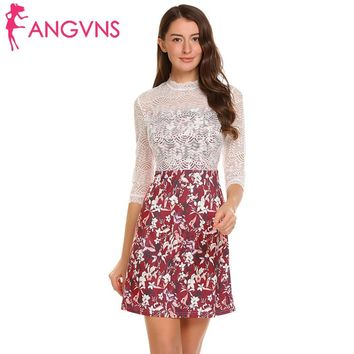 Floral 3/4 Sleeve Sheer Lace Patchwork Women A-line Party Short Dress
