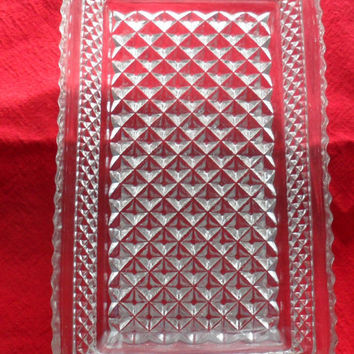 1950s Vintage Rectangular Diamond Point Glass Serving Dish, Cut Glass Condiment tray with handles, Sawtooth edged rectangular pickle dish