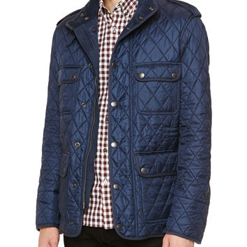 Diamond-Quilted Field Jacket, Navy - Burberry Brit