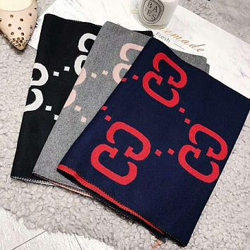 GUCCI Stylish Women Men Chic Double G Jacquard Cashmere Cape Scarf Scarves Shawl Accessories