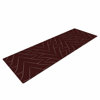 "Julia Grifol ""Brown Triangles"" Maroon Pattern Yoga Mat"