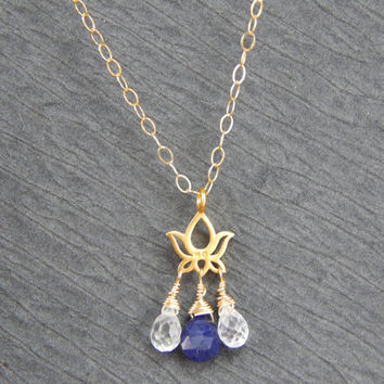 blue sapphire lotus necklace, gold filled necklace, sapphire jewelry, September birthstone, zen