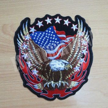 High quality exquisite  USA eagle and flag little one Embroidery Patches for Jacket Back Vest Motorcycle Club Biker    9*9.8cm