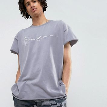 Mennace Regular Fit T-Shirt With Embroidery In Lilac at asos.com