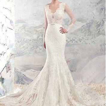 [208.99] Chic Lace & Satin V-Neck Mermaid Wedding Dresses With Lace Appliques - dressilyme.com