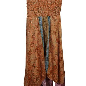 Mogul Womens 2 In 1 Strapless Dress Maxi Skirts Gypsy Recycled Vintage Sari Two Layer: Amazon.ca: Clothing & Accessories