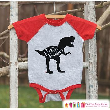 Dinosaur Birthday Shirt - Party Dino Partysaurus Shirt or Onepiece - Boy or Girl, Youth, Toddler, Birthday Outfit - Red Baseball Tee -