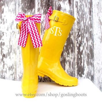 Custom Monogrammed Yellow Gloss Rain Boots with Pink Chevron Bows