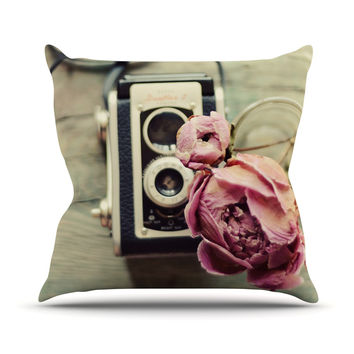 "Cristina Mitchell ""I Have But Two Loves"" Pink Tan Outdoor Throw Pillow"