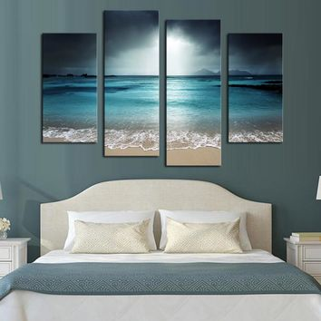 Framed 4 Panels  ocean Scenery Canvas Print Painting Modern Canvas Wall Art for Wall Pcture Home Decor Artwork