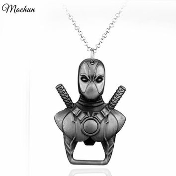 MQCHUN Marvel Comics Deadpool Bottle Opener Pendant Necklace Vintage Dead Pool Mask Maxi Necklace For Movie Fans Best Gift