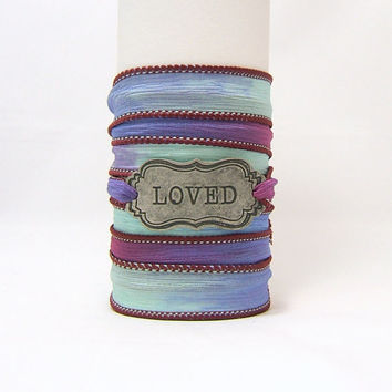 SILK WRAP Bracelet ~ LOVED Antiqued Silver Metal Word Band ~ Pink, Blue, Mint Green ~ Scroll Framed ~ Hand Dyed 100% Silk Ribbon