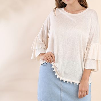 Women's Plus Layered Bell Sleeve Top with Crochet Trim