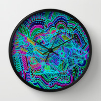 One Fish, New Fish, Zentangle Blue Fish Wall Clock by RokinRonda
