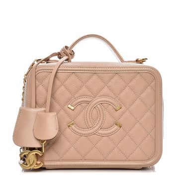 CHANEL Caviar Quilted Medium CC Filigree Vanity Case Beige