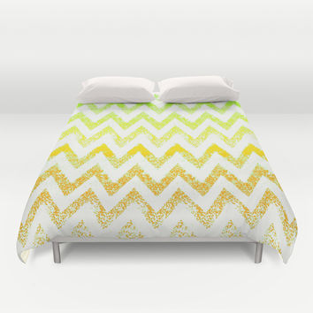 ombre golden green chevron Duvet Cover by Marianna Tankelevich
