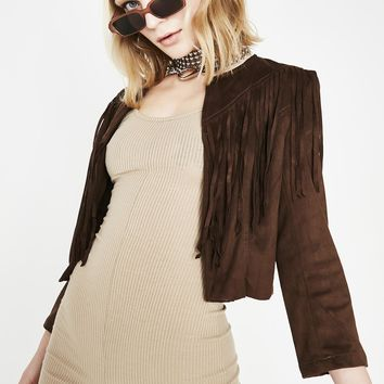 Chocolate Desert Fox Fringe Jacket