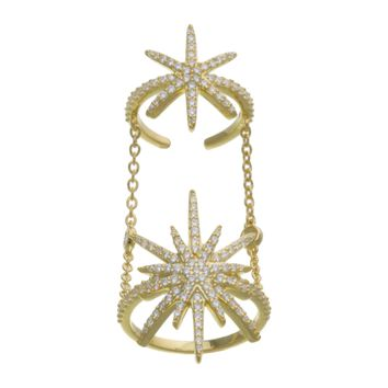 Gold Over Sterling Silver CZ Double Star Burst Chain Ring