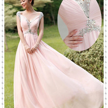 Long Elegant Beaded Evening Dresses, Sexy Chiffon Pink Dresses, Evening Dresses, Rhinestone Beaded Long Dresses, Prom Beaded Pink Dresses