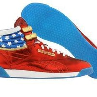 Reebok Womens Freestyle High - Femme Fatale Wonder Woman (rbk red / royal blue / gold / white) 2-J05562