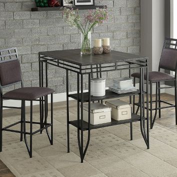Crown mark CM1716SET 3 pc Matrix faux finish wood top counter height craft / dining table set