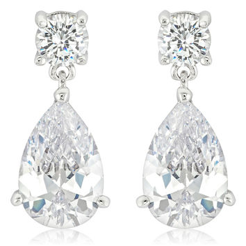 Nola Pear Drop Earrings | 4 Carat | Cubic Zirconia | Silver