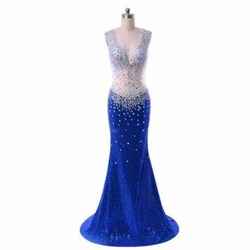Open back Mermaid V Neck  Floor Length Royal blue Long Evening Dress  Gown With Crystals