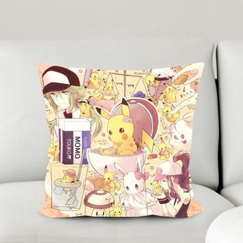 Gift New Home Textile Micro-suede Fabric One-sided Two-sided Cartoon Square Pillow Case  Anime Pikachu Hot Sale #40988AKawaii Pokemon go  AT_89_9