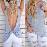 New summer sexy Women Solid Color vest Backless knot sleeveless T-shirt-006-27