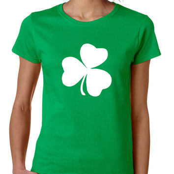 Women's T Shirt White Shamrock Graphic St Patrick's Day Party