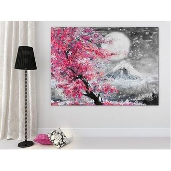 Scenery Canvas Painting Cherry Blossom Mountain Paintings Canvas Photo Canvas Wall Art Work for BedFor Living Room Artwork Wall