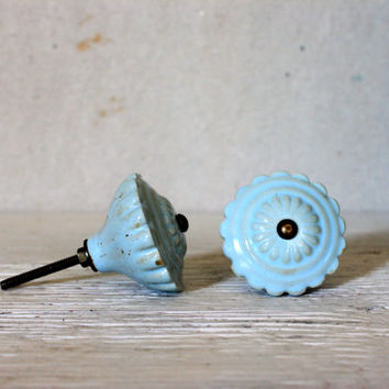 large ceramic knob // china drawer cabinet door pull handle // light blue shabby cottage chic