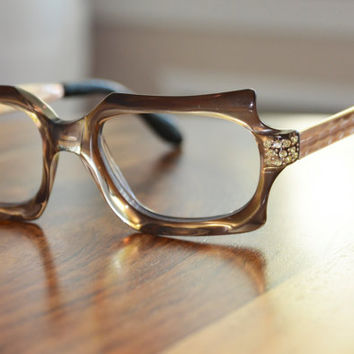 Vintage Rhinestone Square Eyeglasses with metal temples