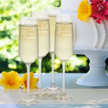 7 to 12 Bridesmaid Champagne Toasting Flutes Personalized * Sophisticated Contemporary Design * Script Font with Fun Flair * Bridesmaids