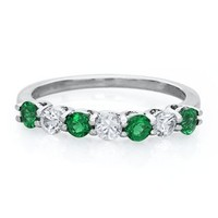 Lab-Created Emerald & White Sapphire Ring in Sterling Silver - May - Birthstones - Jewelry - Helzberg Diamonds