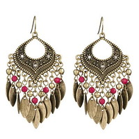 fuchsia bead chandelier earrings with fringe