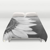 B&W Sunflower Duvet Cover by Viviana Gonzalez