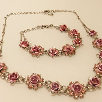 Vintage Avon Pink Rose Necklace and Bracelet Jewelry Set