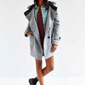 Numph Morgan Grey Wool Coat- Dark Grey