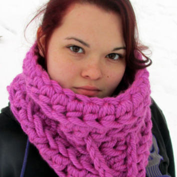 Oversized Chunky Cowl, Neckwarmer, Pink, Mega Bulky Cowl Scarf, Women's Teen's Winter Accessories