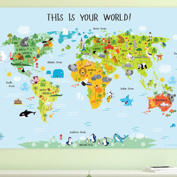 Personalized Children's World Map, Baby Gift, Nursery World Map, Unique Baby Gift, Kids World Map Laminated Poster.