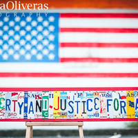 LIBERTY and JUSTICE for ALL ooak license plate art, patriotic decor, americana decor, pledge of allegiance