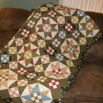 Green Quilt, Patchwork Quilt, Quilted Throw, Sofa Quilt, Rusty Red Olive Green French Country Blue Quilt, Star Quilt, Wheelchair Quilt