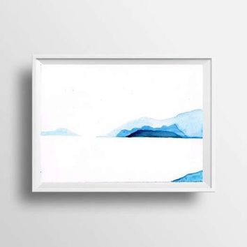 Mountain Lake scene blue monochromic Set of 2 abstract landscape watercolor painting wall art nature print  hills teal aqua men gift for him