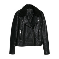 Buy Mango Faux Shearling Biker Jacket, Black | John Lewis